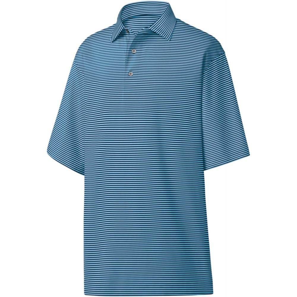 フットジョイ FootJoy メンズ ゴルフ ポロシャツ トップス【ProDry Performance Lisle Feeder Stripe Self Collar Golf Polo】Light Blue/Navy