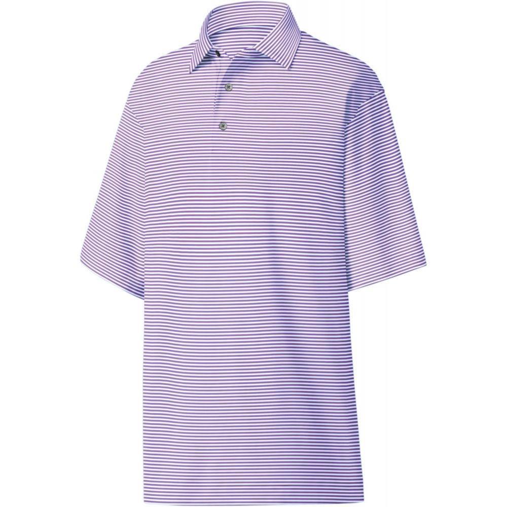 フットジョイ FootJoy メンズ ゴルフ ポロシャツ トップス【ProDry Performance Lisle Feeder Stripe Self Collar Golf Polo】Lavender/White