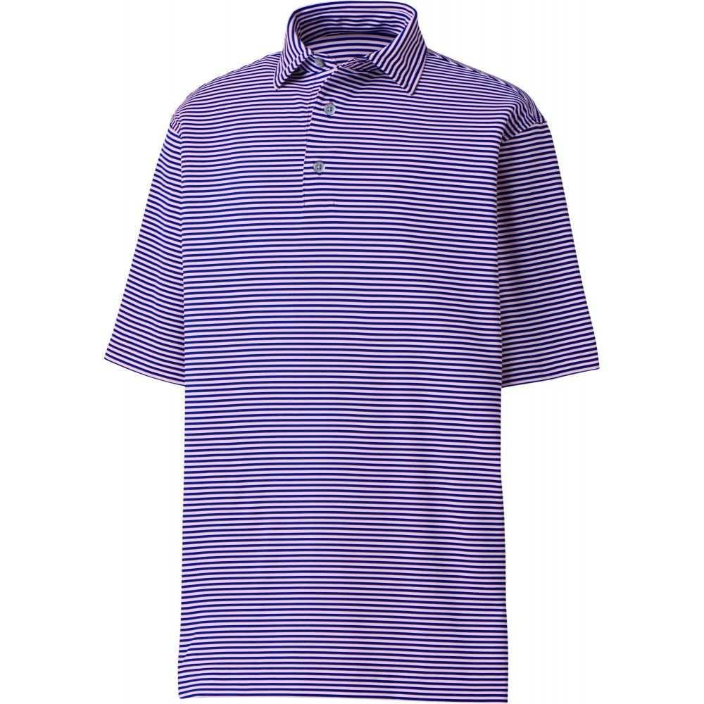 フットジョイ FootJoy メンズ ゴルフ ポロシャツ トップス【ProDry Performance Lisle Feeder Stripe Self Collar Golf Polo】Ultramarine/Light Pink
