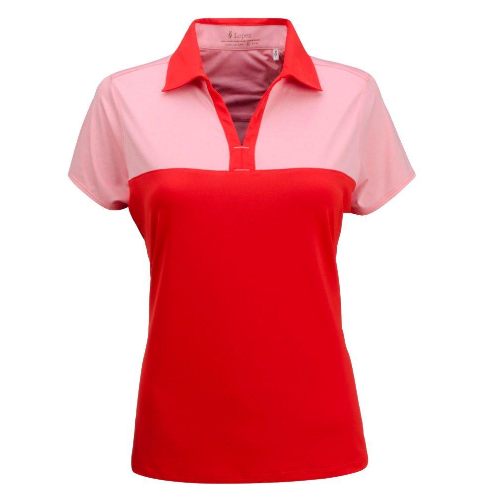 ナンシー ロペス Nancy Lopez Golf レディース ゴルフ 半袖 トップス【Nancy Lopez Pursuit Short Sleeve Golf Polo - Extended Sizes】Fiery Red/Flamingo
