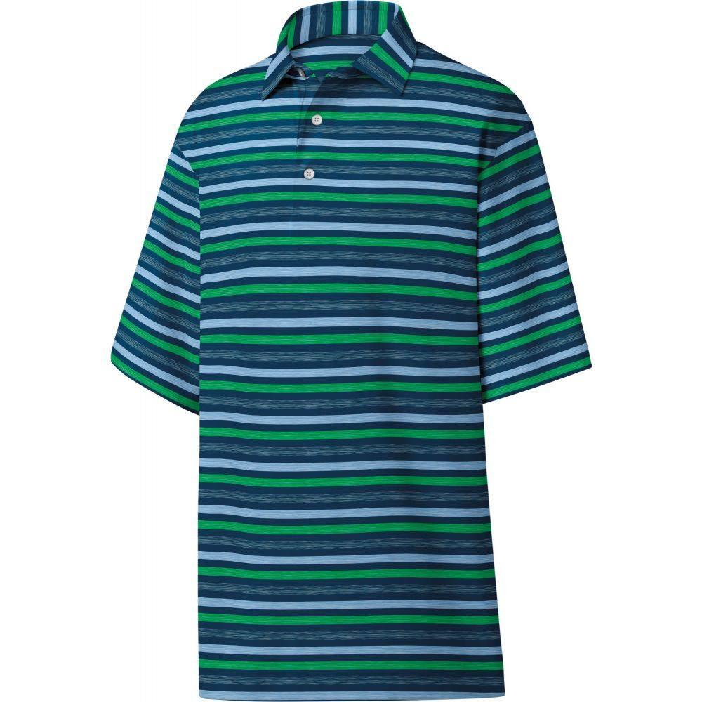 フットジョイ メンズ ゴルフ トップス 【サイズ交換無料】 フットジョイ FootJoy メンズ ゴルフ ポロシャツ トップス【Lisle Melange Stripe Golf Polo】Navy/Sky/Kelly