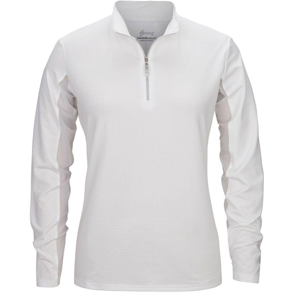 ベッティ&コート Bette & Court レディース ゴルフ ポロシャツ トップス【Cool Elements Mesh Long Sleeve Golf Polo】White