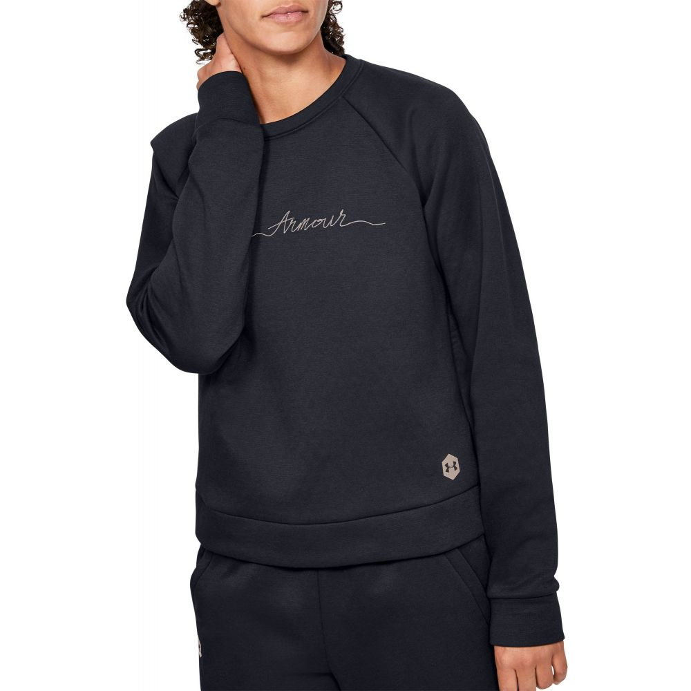 アンダーアーマー Under Armour レディース フリース トップス【Recovery Fleece Script Crewneck】Black/Blush Beige