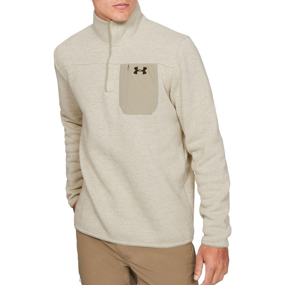 アンダーアーマー Under Armour メンズ 長袖Tシャツ ヘンリーシャツ トップス【Sweaterfleece Henley Long Sleeve Shirt (Regular and Big & Tall)】Khaki Base Heather/Brown