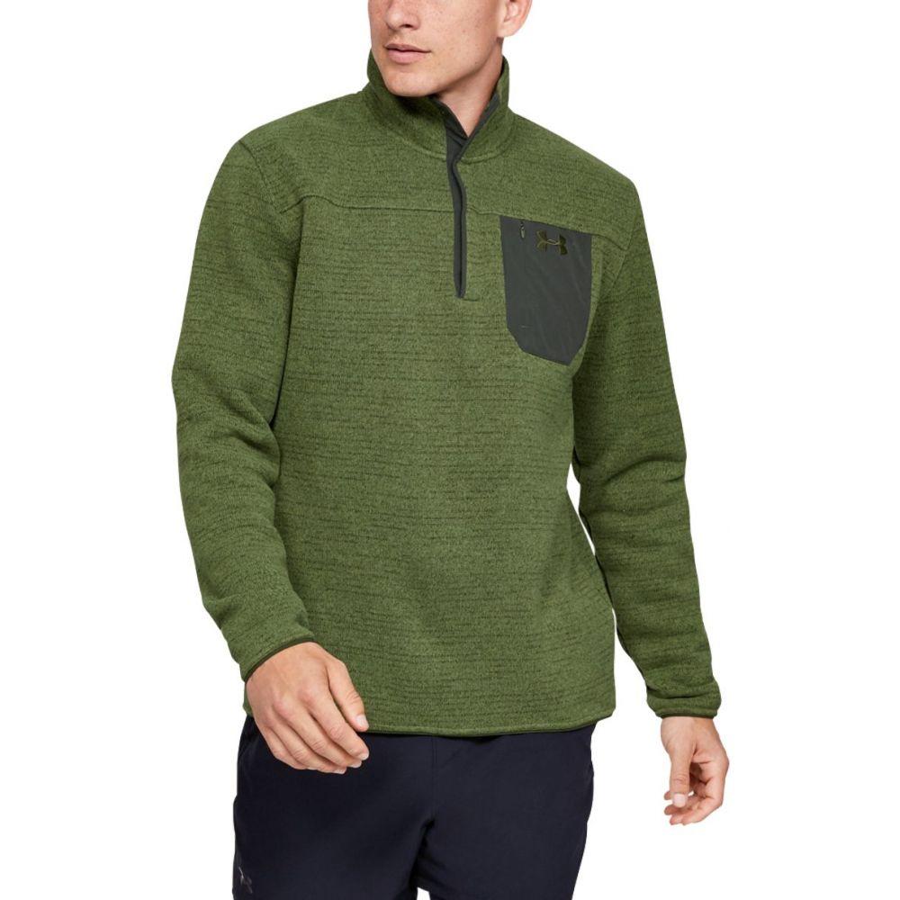 アンダーアーマー Under Armour メンズ 長袖Tシャツ ヘンリーシャツ トップス【Sweaterfleece Henley Long Sleeve Shirt (Regular and Big & Tall)】Guardian Green Fade Heather