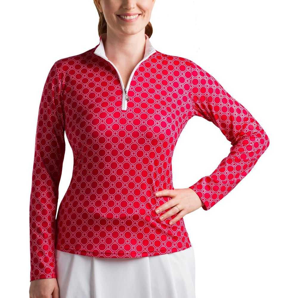 サン ソレイユ レディース テニス トップス 【サイズ交換無料】 サン ソレイユ SanSoleil レディース テニス トップス【SolCool Half-Zip Tennis Pullover】Honeycomb Red