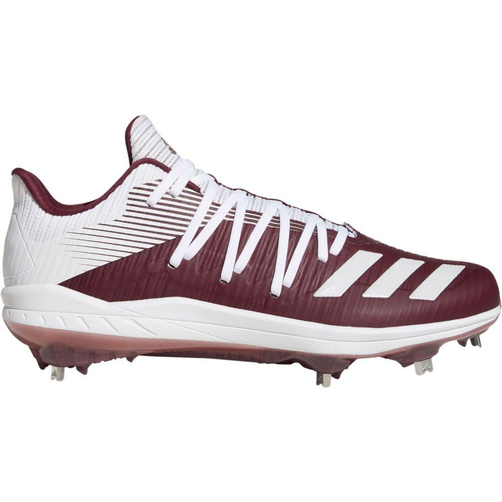 アディダス adidas メンズ 野球 スパイク シューズ・靴【adizero Afterburner 6 Metal Baseball Cleats】Maroon/白い