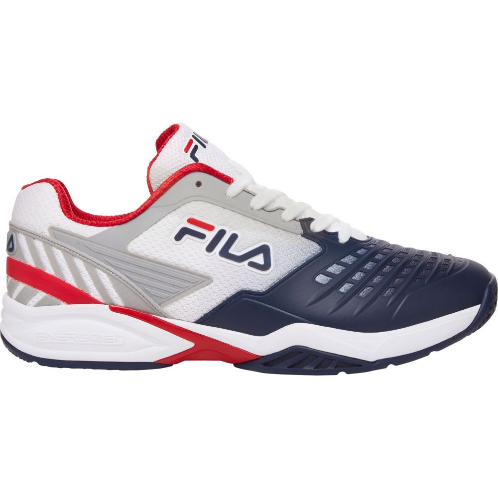 フィラ メンズ テニス シューズ・靴 【サイズ交換無料】 フィラ Fila メンズ テニス シューズ・靴【Axilus 2 Energized Tennis Shoe】White/Navy/Red