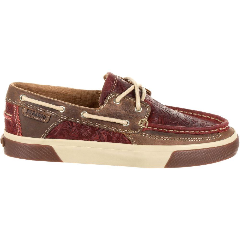 デュランゴ Durango レディース スリッポン・フラット シューズ・靴【Music City Western Embossed Boat Shoes】Vintage Red