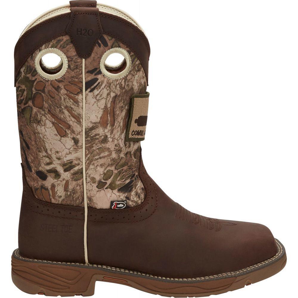 ジャスティンブーツ Justin Boots メンズ ブーツ ウェスタンブーツ ワークブーツ シューズ・靴【Justin Stampede Rush Steel Toe Western Work Boots】Grizzly Brown