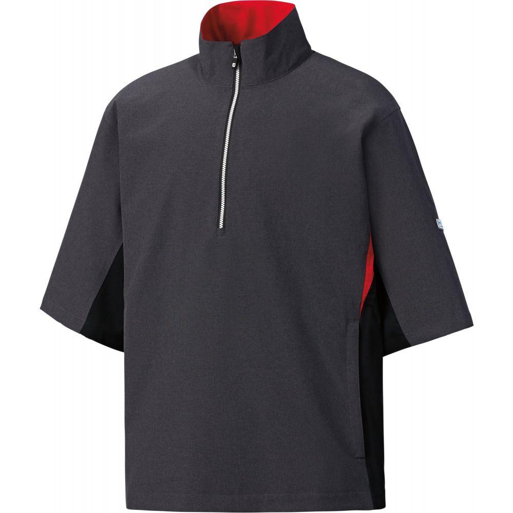 フットジョイ メンズ ゴルフ トップス 【サイズ交換無料】 フットジョイ FootJoy メンズ ゴルフ トップス【HydroLite Short Sleeve Golf Rain Shirt】Heather Charcoal/Blk/Red