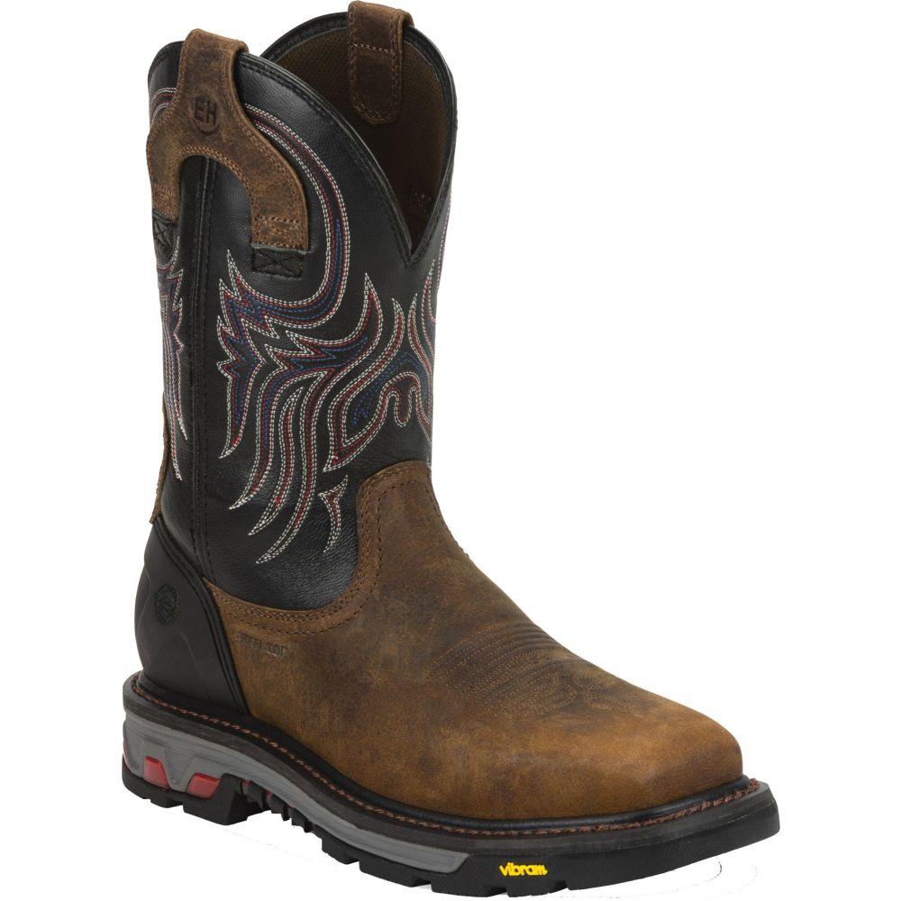 ジャスティンブーツ Justin Boots メンズ ブーツ ウェスタンブーツ ワークブーツ シューズ・靴【Justin Commander X-5 Steel Toe Western Work Boots】Brown