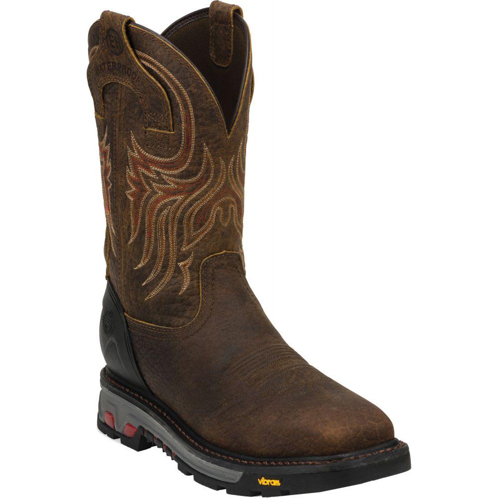 ジャスティンブーツ Justin Boots メンズ ブーツ ウェスタンブーツ ワークブーツ シューズ・靴【Justin Pull-On Commander X-5 Steel Toe Western Work Boots】Brown