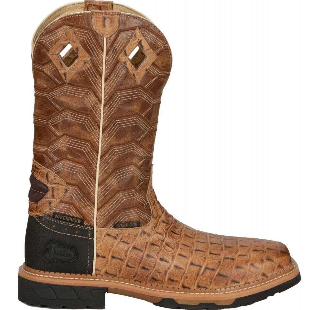 ジャスティンブーツ Justin Boots メンズ ブーツ ウェスタンブーツ ワークブーツ シューズ・靴【Justin Derrickman Waterproof Composite Toe Western Work Boots】Caramel