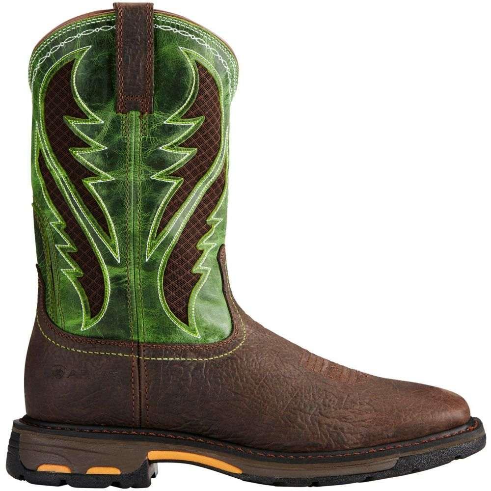 アリアト Ariat メンズ ブーツ ウェスタンブーツ ワークブーツ シューズ・靴【Workhog VentTek Western Work Boots】Brown/Green