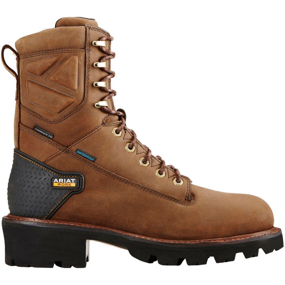 アリアト Ariat メンズ ブーツ ワークブーツ シューズ・靴【Powerline 8'' H2O Waterproof Composite Toe Work Boots】Oily Distressed Brown