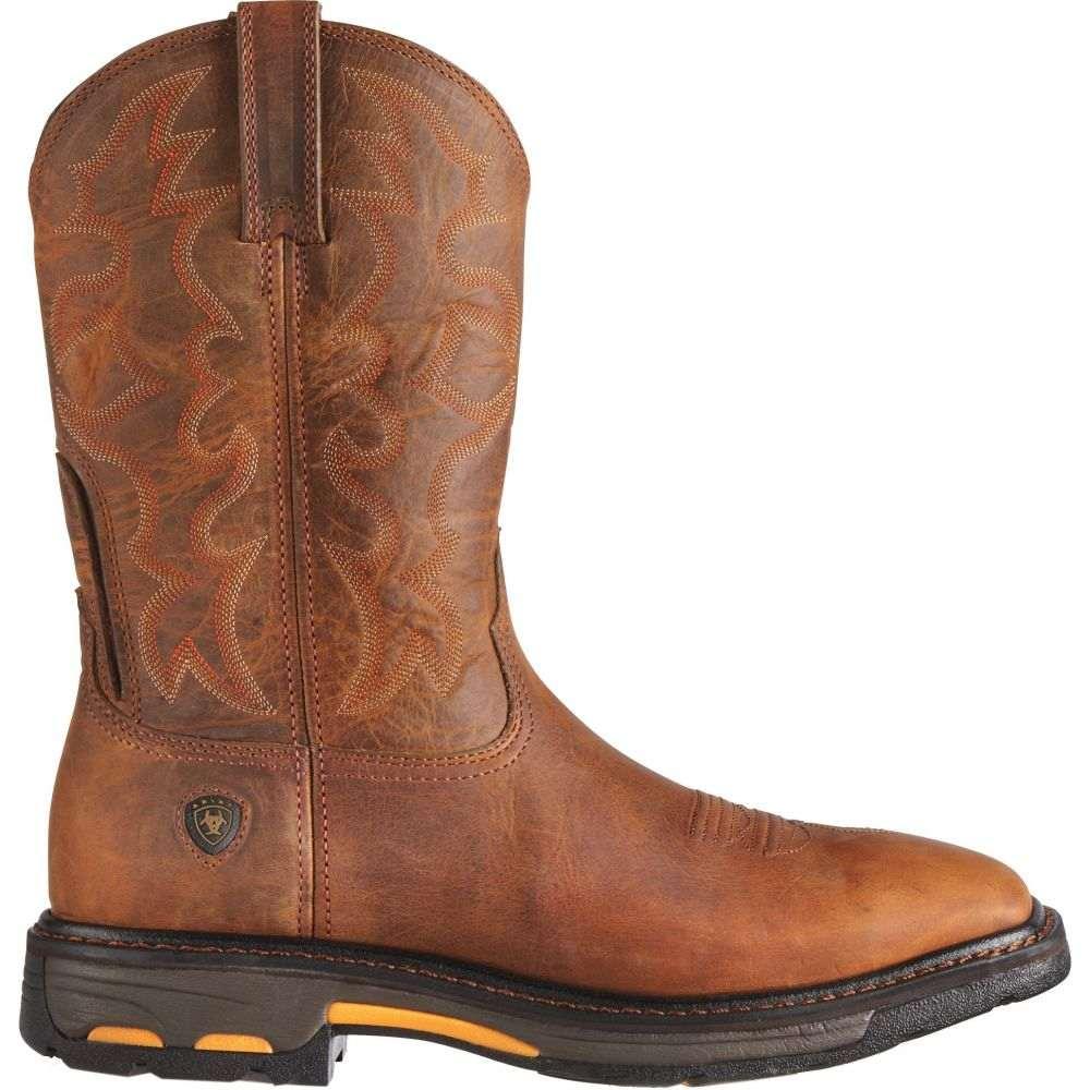 アリアト Ariat メンズ ブーツ ウェスタンブーツ ワークブーツ シューズ・靴【Workhog Steel Toe Western Work Boots】Brown