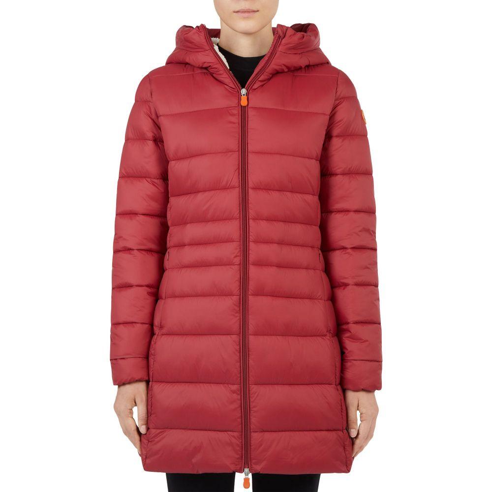 セイブ ザ ダック Save The Duck レディース ジャケット フード アウター【Giga Hooded Winter Jacket】Mineral Red