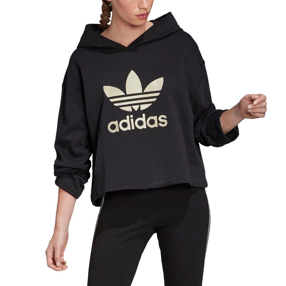 アディダス adidas レディース パーカー トップス【Metallic Trefoil Hoodie】Black/Gold