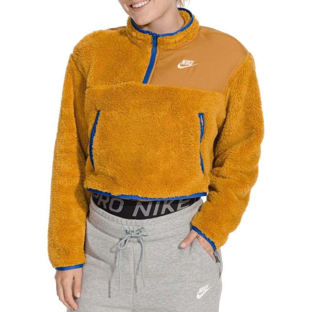 ナイキ Nike レディース フリース トップス【Sportswear 1/4 Zip Fleece Crop Pullover】Gold Suede