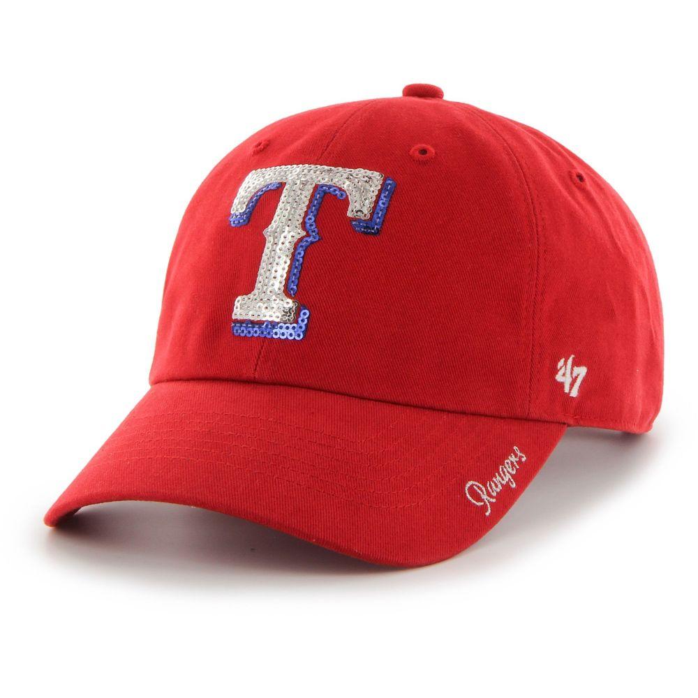 フォーティセブン 47 レディース キャップ 帽子 Texas Rangers Sparkle Clean Up Red AdjvIgmY6fyb7