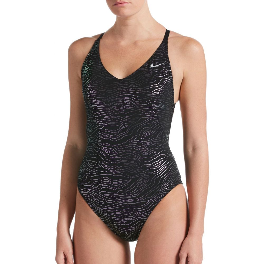ナイキ Nike レディース ワンピース 水着・ビーチウェア【Geo Onyx Crossback One Piece Swimsuit】Black
