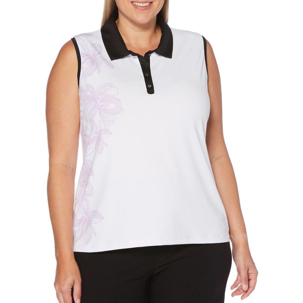キャロウェイ Callaway レディース ゴルフ ノースリーブ トップス【Floral Print Sleeveless Golf Polo - Extended Sizes】Brilliant White