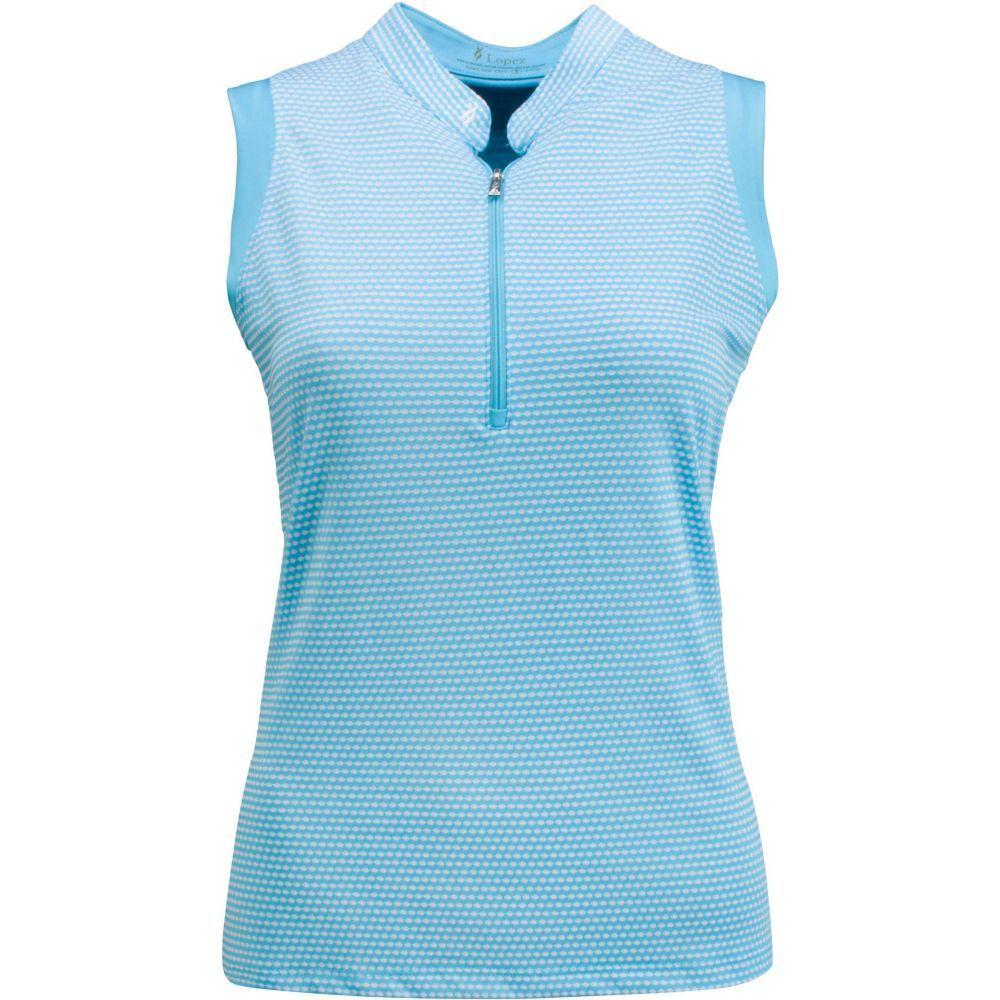ナンシー ロペス Nancy Lopez Golf レディース ゴルフ ノースリーブ ポロシャツ トップス【Nancy Lopez Flex 1/4-Zip Sleeveless Golf Polo - Extended Sizes】Aquarius/White