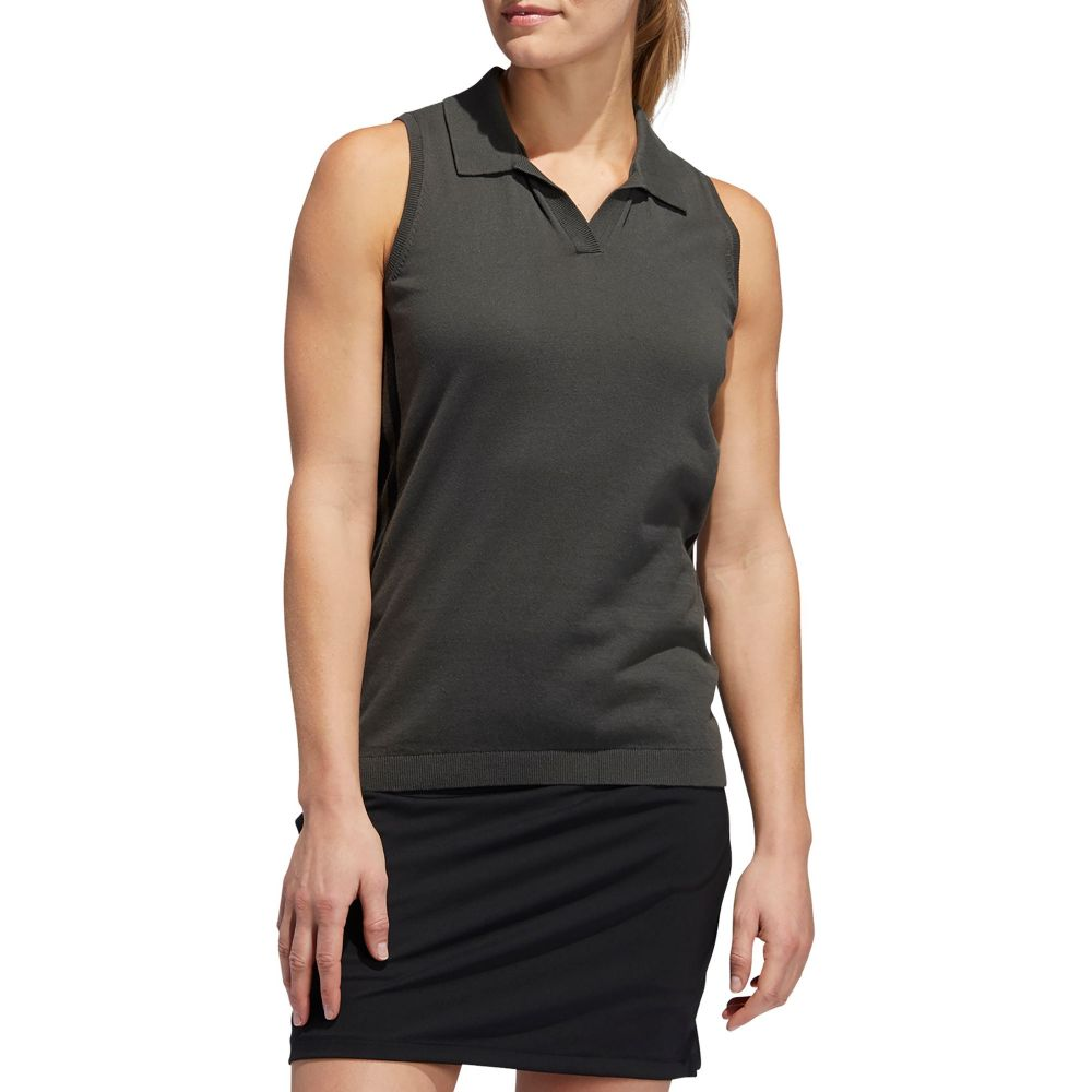 アディダス adidas レディース ゴルフ ニット・セーター ノースリーブ ポロシャツ トップス【Sweater Knit Sleeveless Golf Polo】Legend Earth