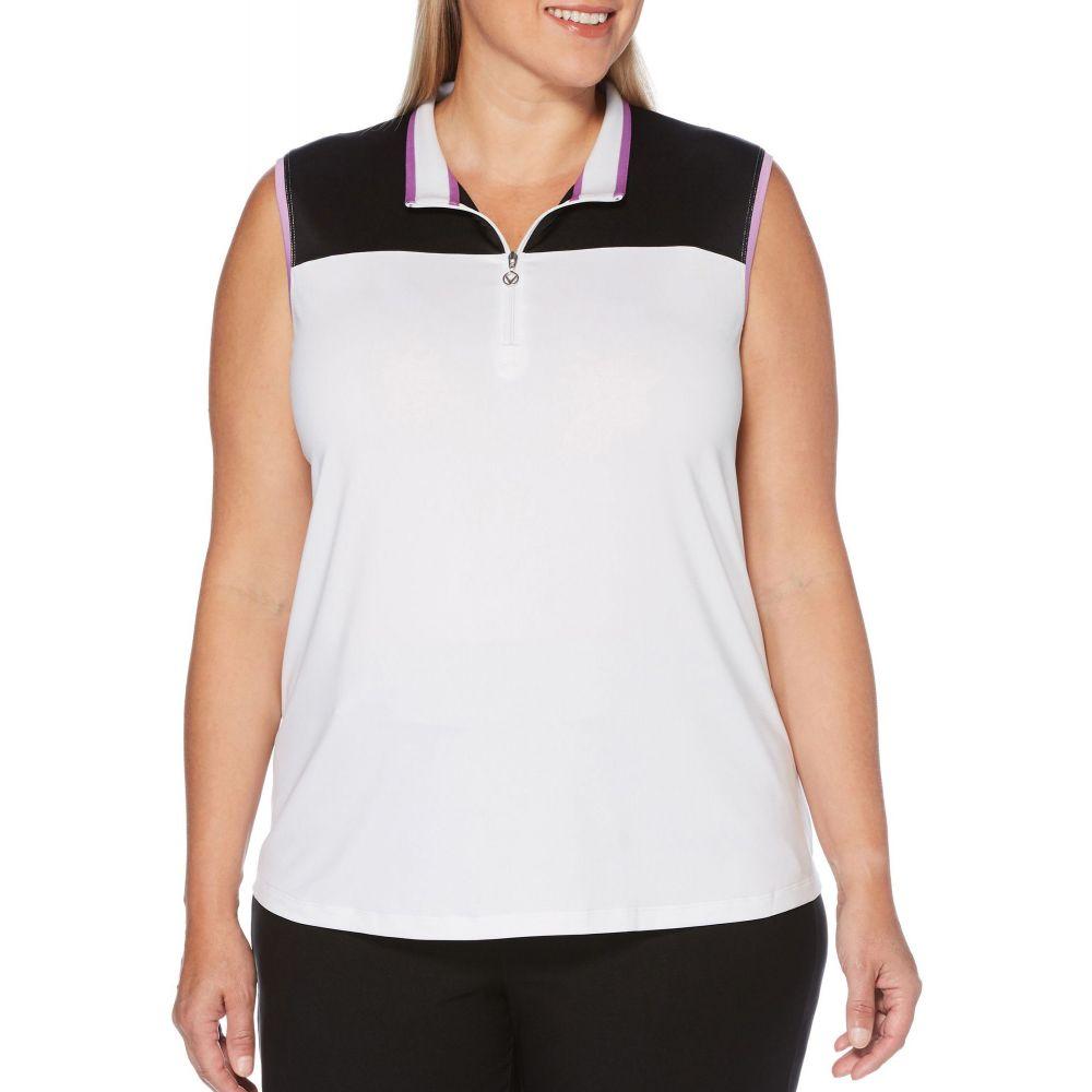 キャロウェイ Callaway レディース ゴルフ ノースリーブ ポロシャツ トップス【Color Block Sleeveless Golf Polo - Extended Sizes】Brilliant White