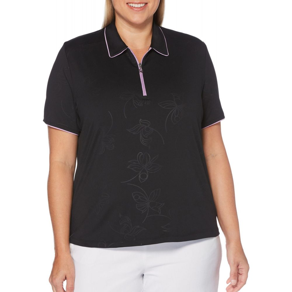 キャロウェイ Callaway レディース ゴルフ 半袖 トップス【Embossed Floral Print Short Sleeve Golf Polo - Extended Sizes】Caviar