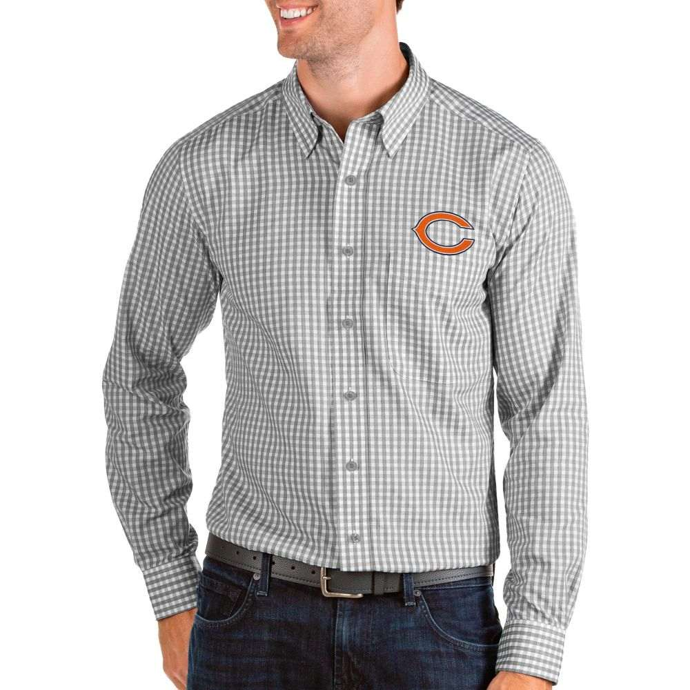アンティグア Antigua メンズ シャツ トップス【Chicago Bears Structure Button Down Grey Dress Shirt】