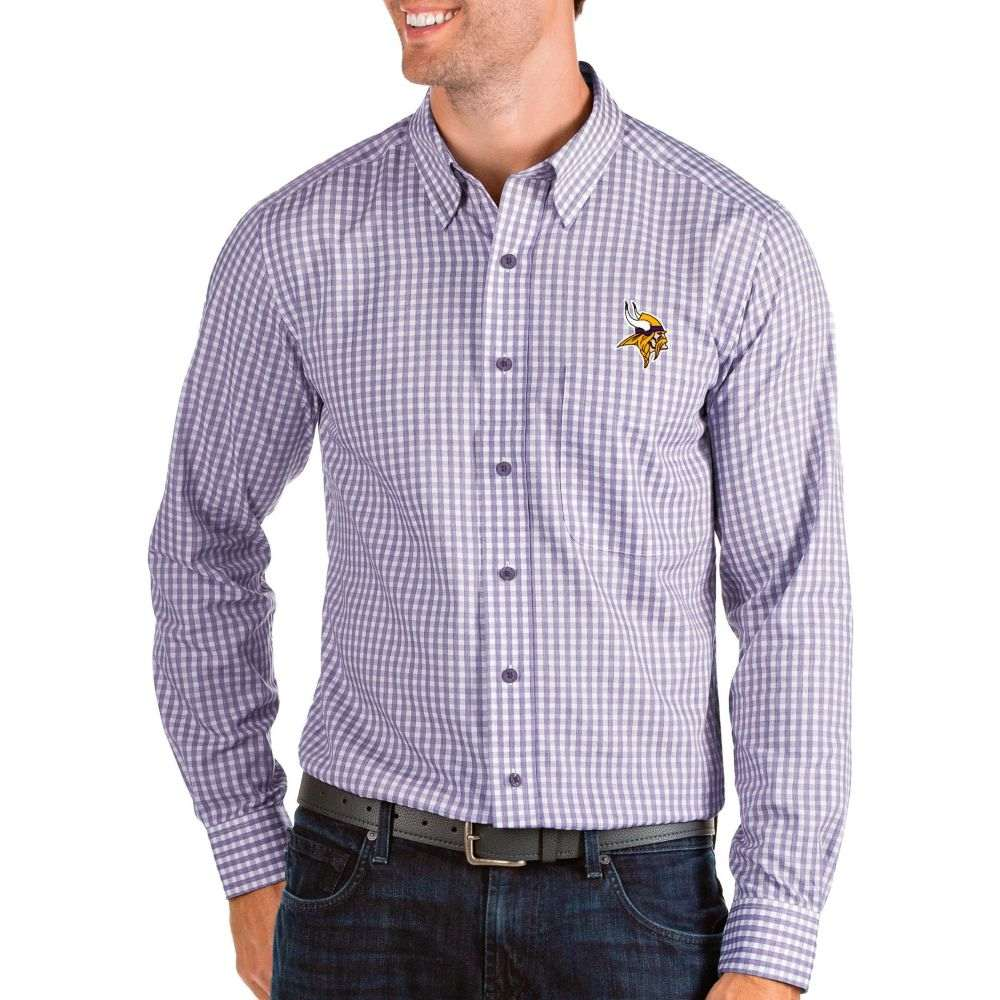 アンティグア Antigua メンズ シャツ トップス【Minnesota Vikings Structure Button Down Purple Dress Shirt】