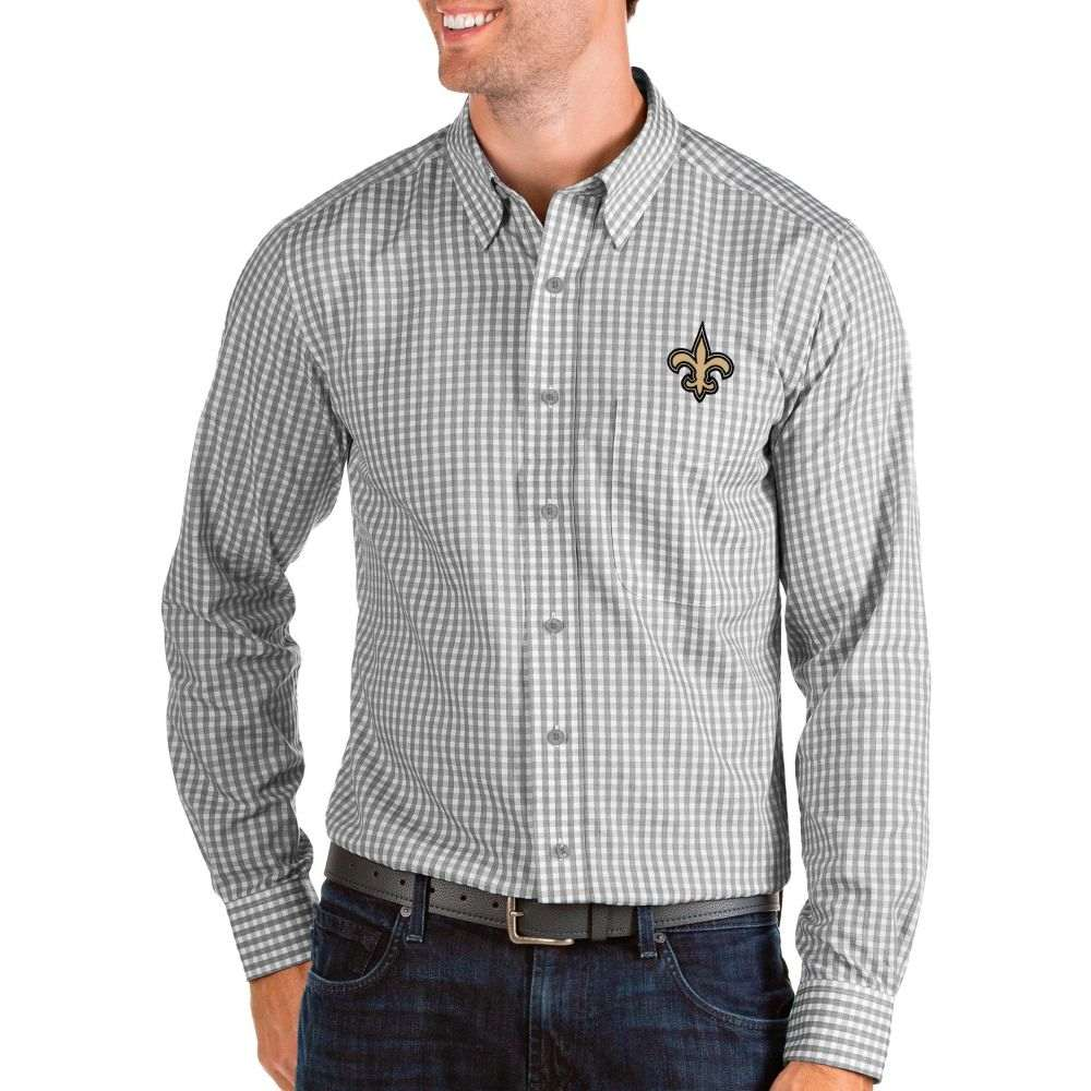 アンティグア Antigua メンズ シャツ トップス【New Orleans Saints Structure Button Down Grey Dress Shirt】