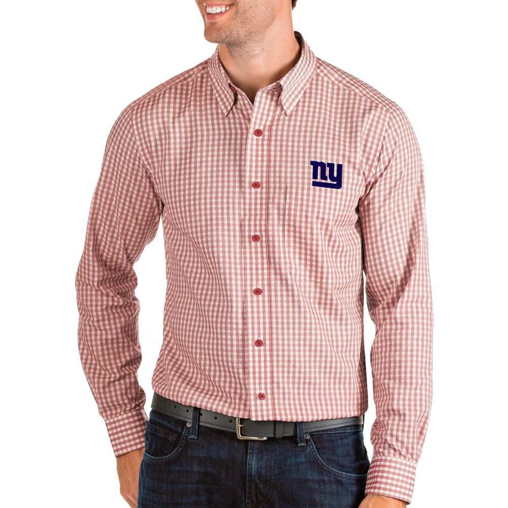 アンティグア Antigua メンズ シャツ トップス【New York Giants Structure Button Down Red Dress Shirt】
