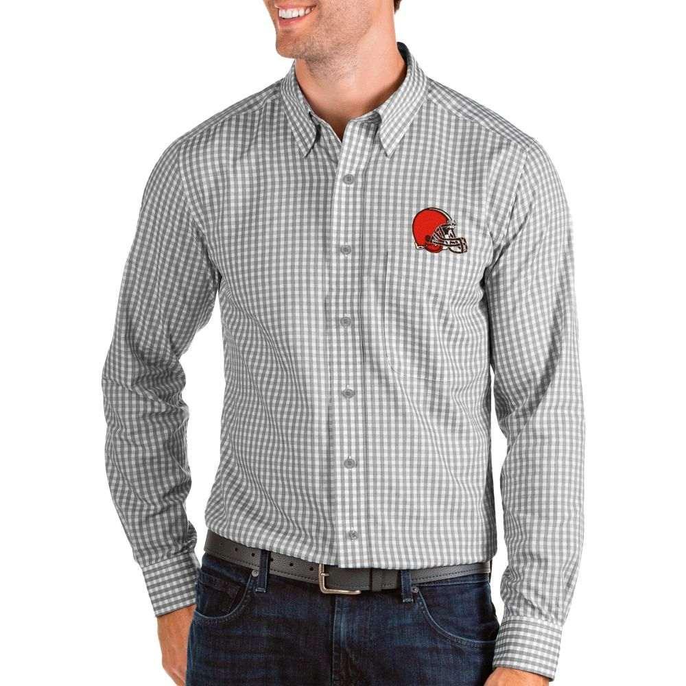 アンティグア Antigua メンズ シャツ トップス【Cleveland Browns Structure Button Down Grey Dress Shirt】