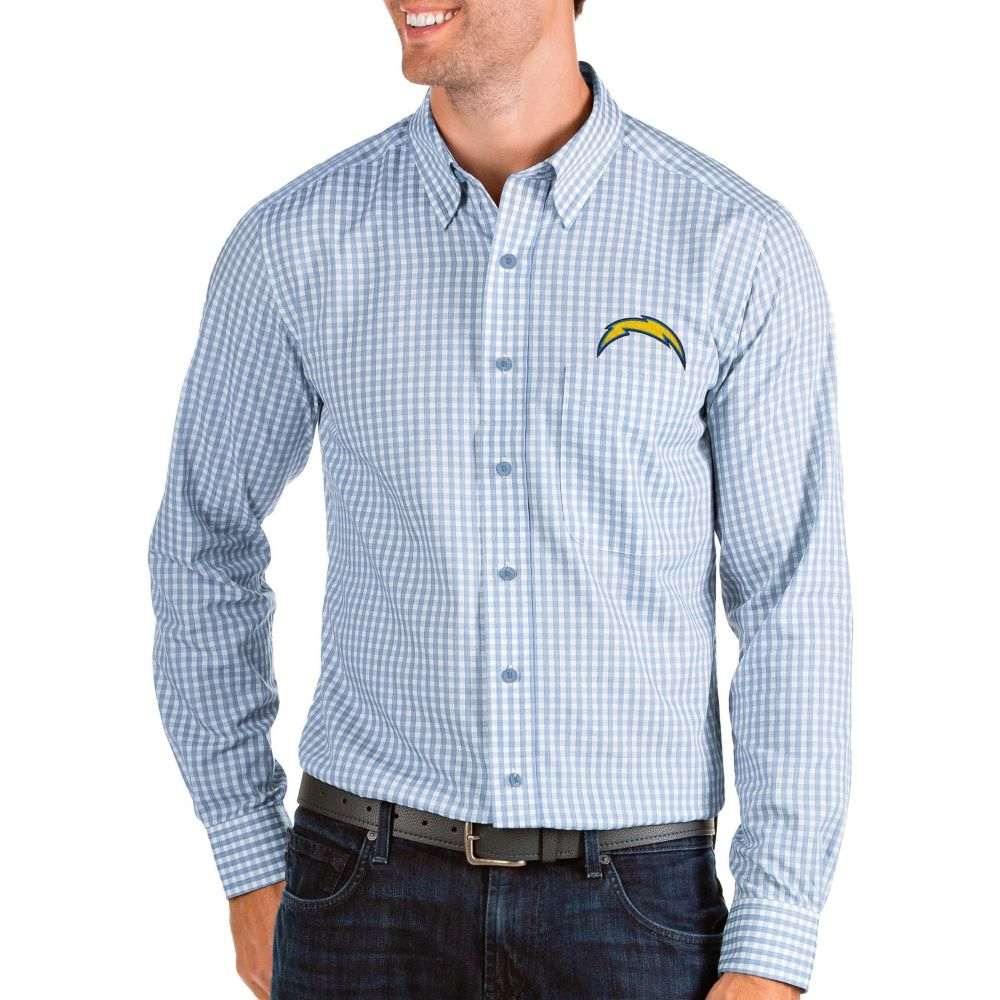 アンティグア Antigua メンズ シャツ トップス【Los Angeles Chargers Structure Button Down Blue Dress Shirt】