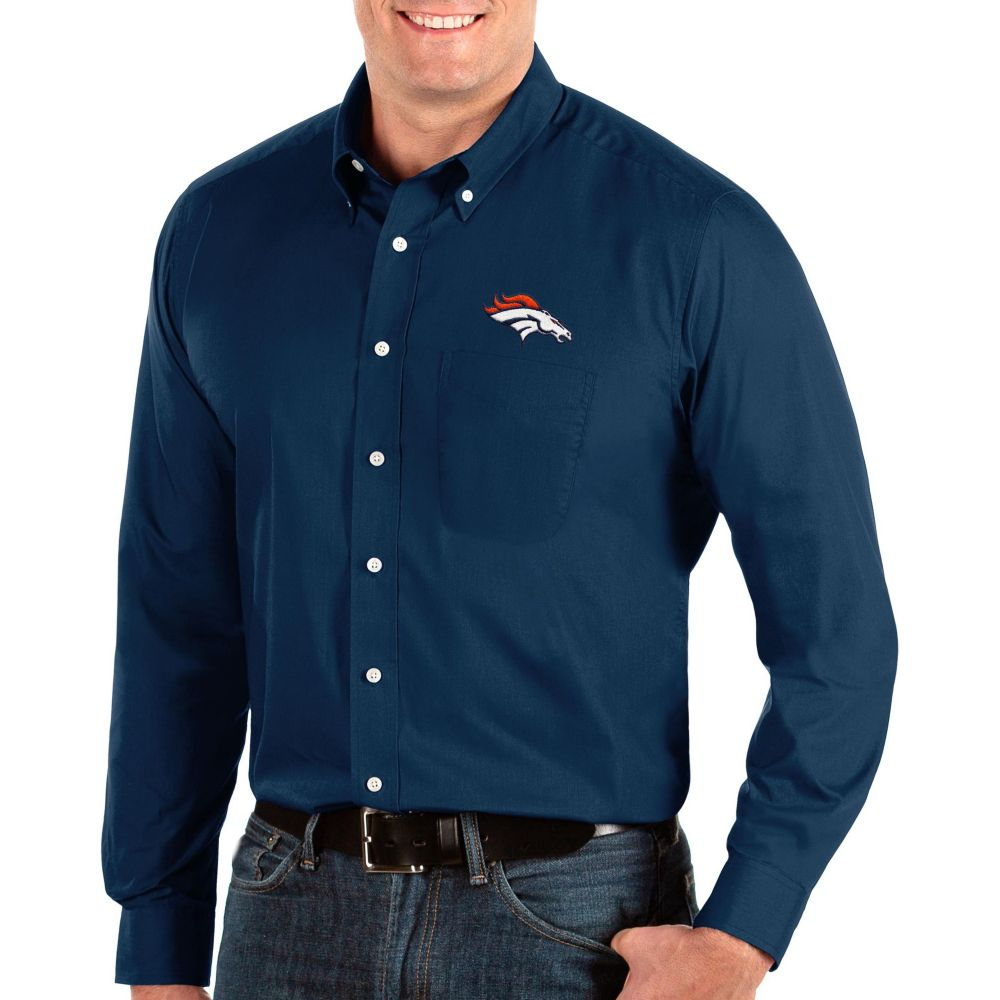 アンティグア Antigua メンズ シャツ トップス【Denver Broncos Dynasty Button Down Navy Dress Shirt】