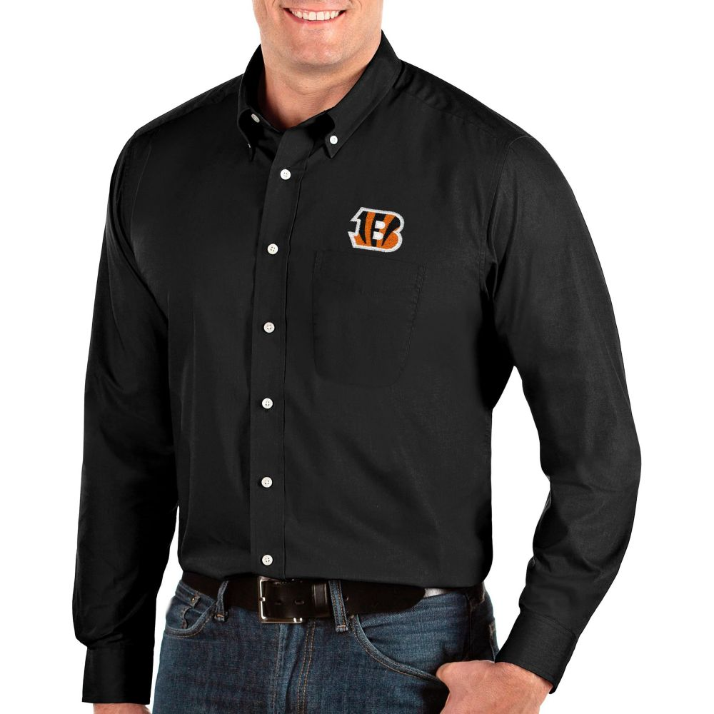 アンティグア Antigua メンズ シャツ トップス【Cincinnati Bengals Dynasty Button Down Black Dress Shirt】