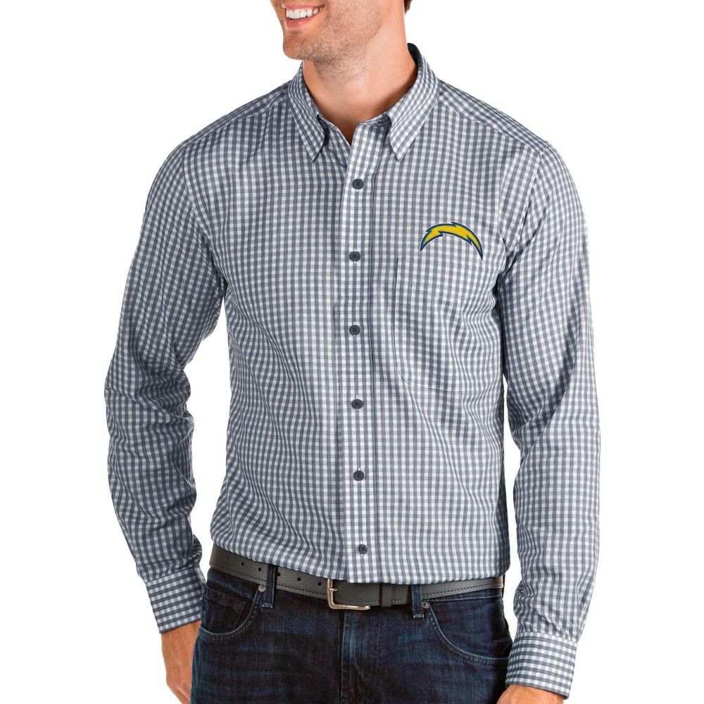 アンティグア Antigua メンズ シャツ トップス【Los Angeles Chargers Structure Button Down Navy Dress Shirt】