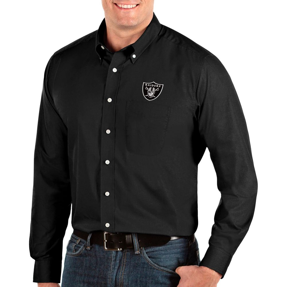 アンティグア Antigua メンズ シャツ トップス【Oakland Raiders Dynasty Button Down Black Dress Shirt】