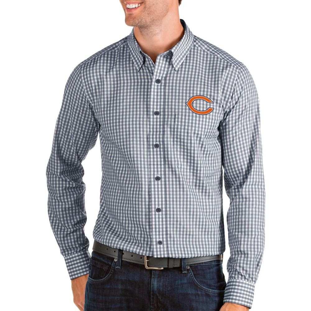 アンティグア Antigua メンズ シャツ トップス【Chicago Bears Structure Button Down Navy Dress Shirt】