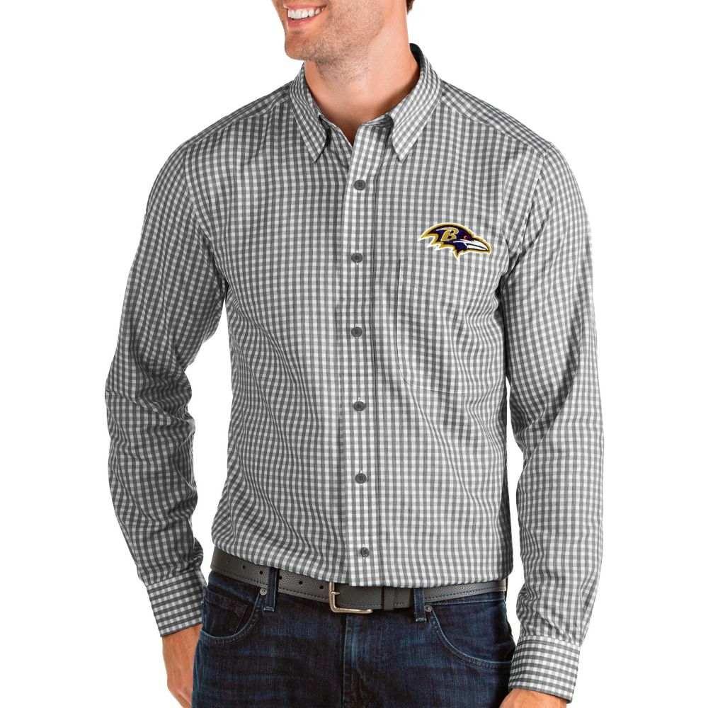 アンティグア Antigua メンズ シャツ トップス【Baltimore Ravens Structure Button Down Black Dress Shirt】