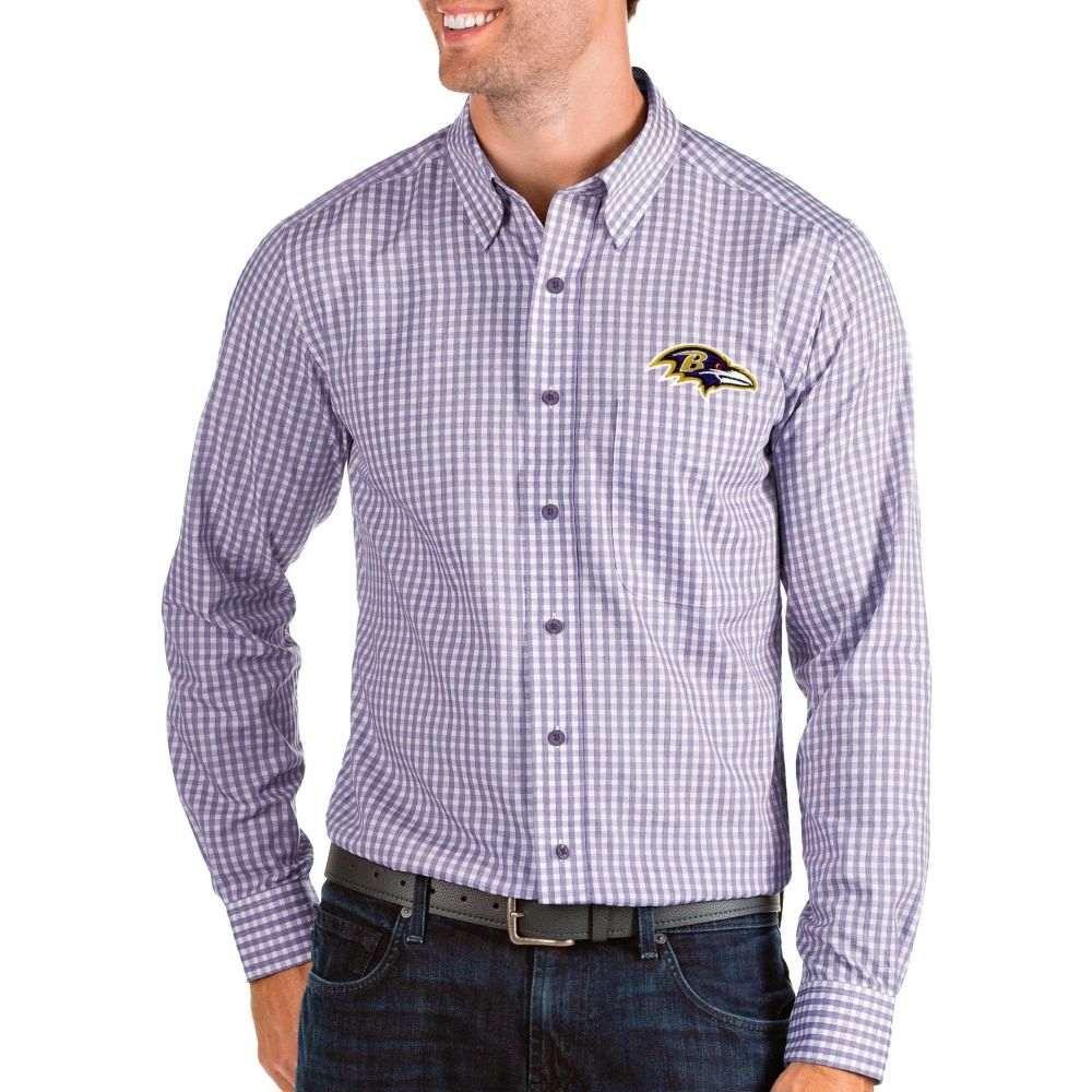 アンティグア Antigua メンズ シャツ トップス【Baltimore Ravens Structure Button Down Purple Dress Shirt】