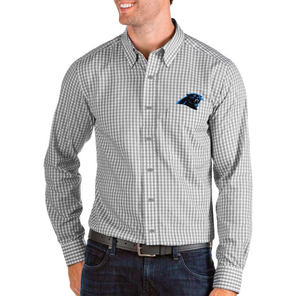 アンティグア Antigua メンズ シャツ トップス【Carolina Panthers Structure Button Down Grey Dress Shirt】