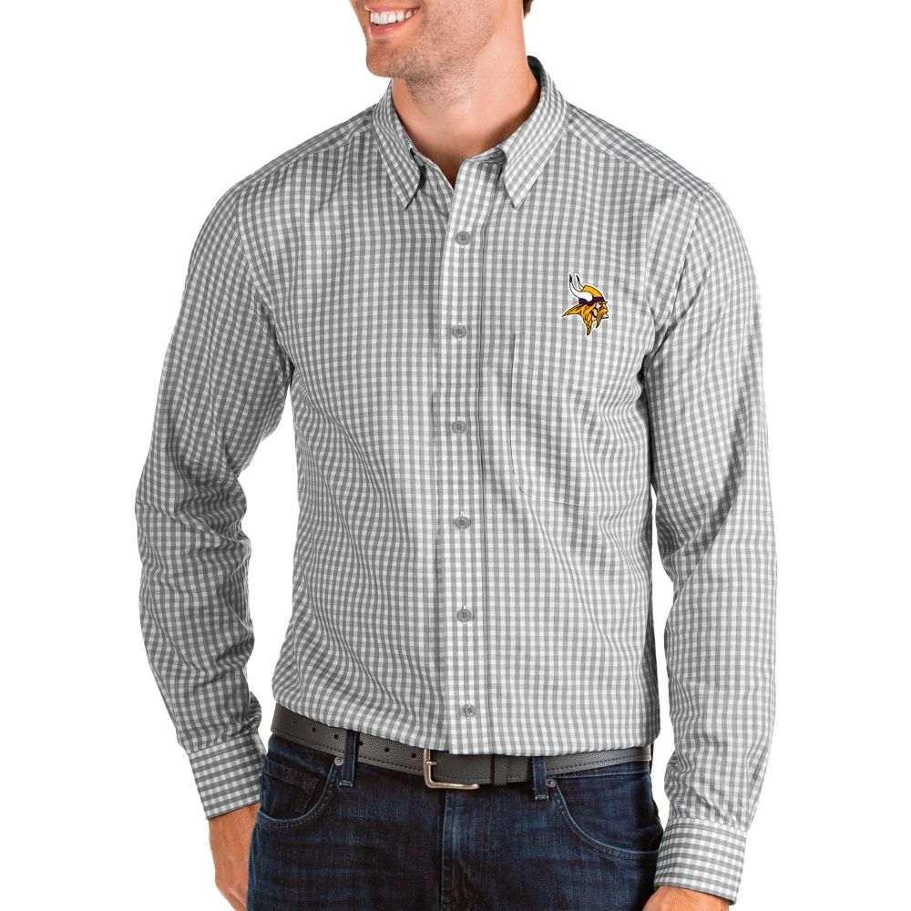 アンティグア Antigua メンズ シャツ トップス【Minnesota Vikings Structure Button Down Grey Dress Shirt】