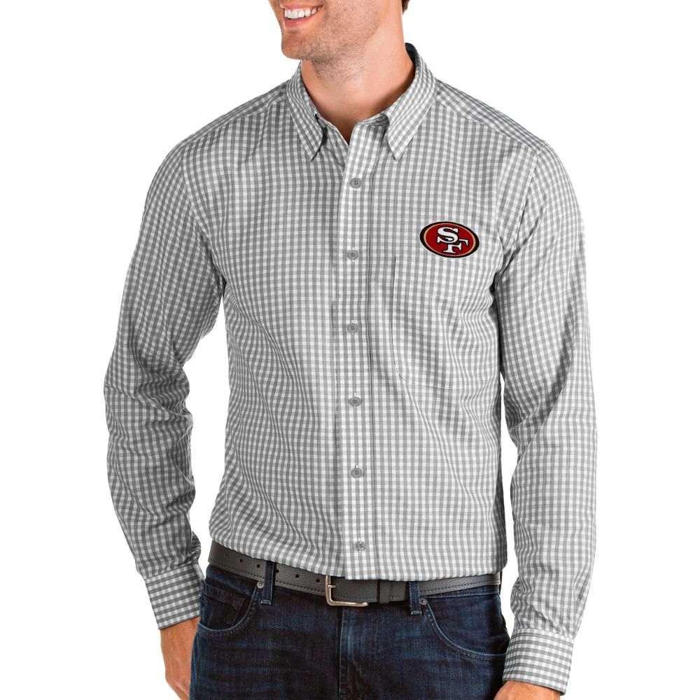 アンティグア Antigua メンズ シャツ トップス【San Francisco 49ers Structure Button Down Grey Dress Shirt】