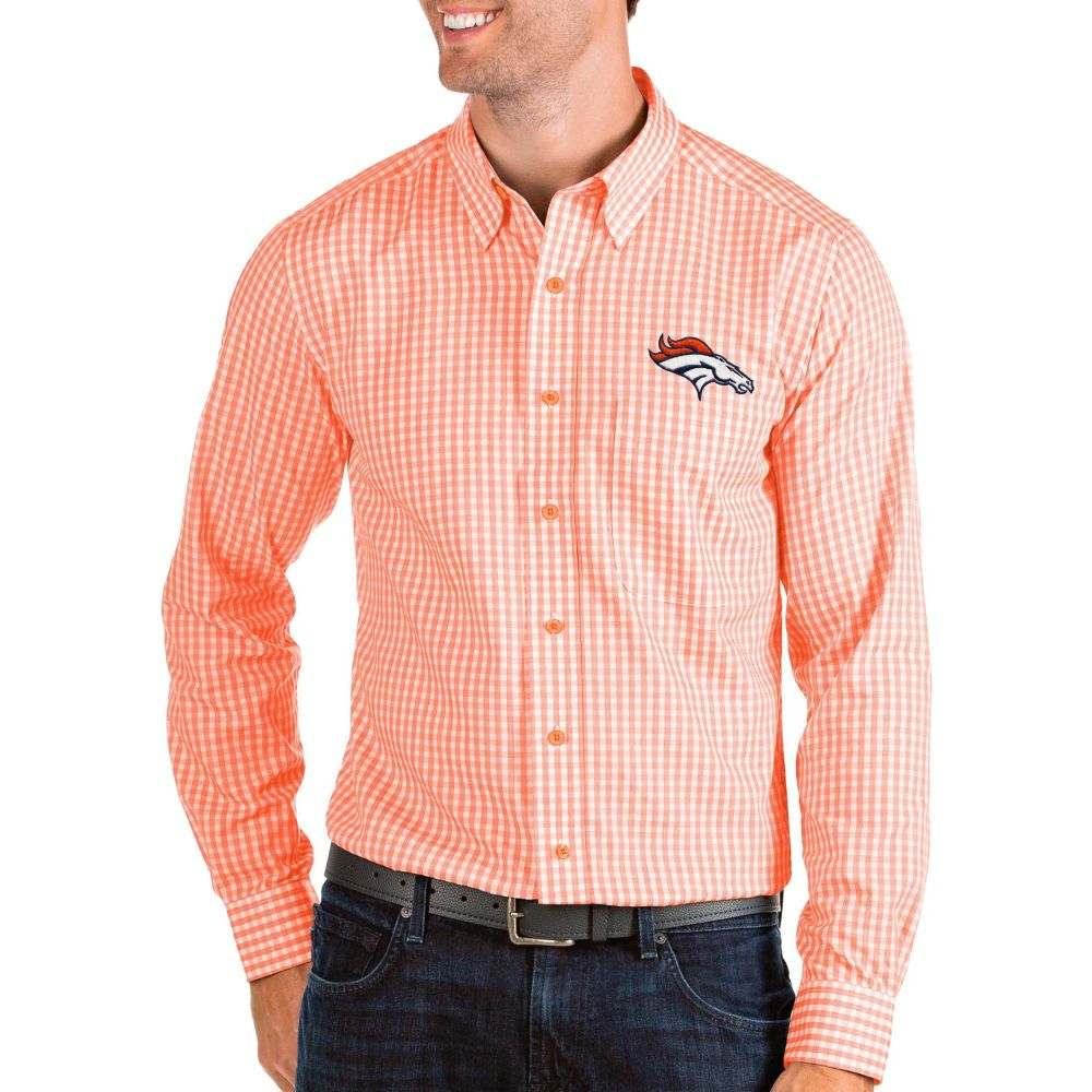 アンティグア Antigua メンズ シャツ トップス【Denver Broncos Structure Button Down Orange Dress Shirt】