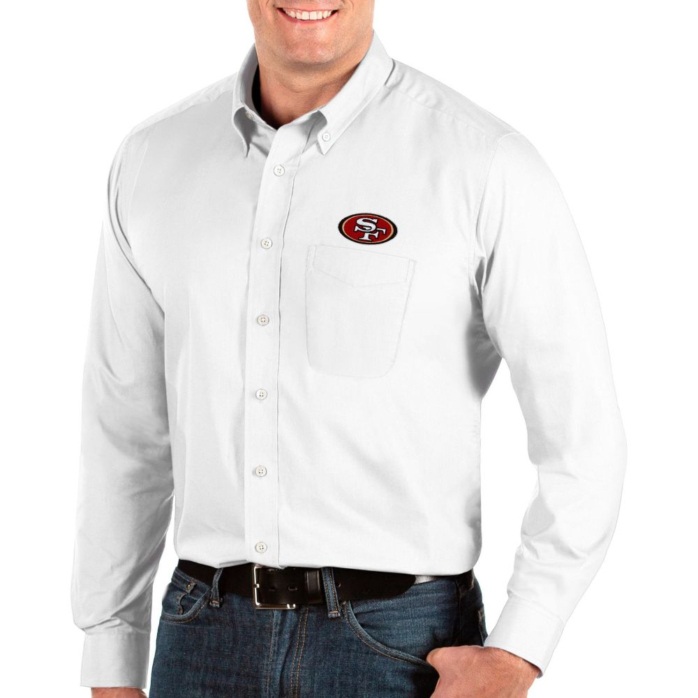 アンティグア Antigua メンズ シャツ トップス【San Francisco 49ers Dynasty Button Down White Dress Shirt】