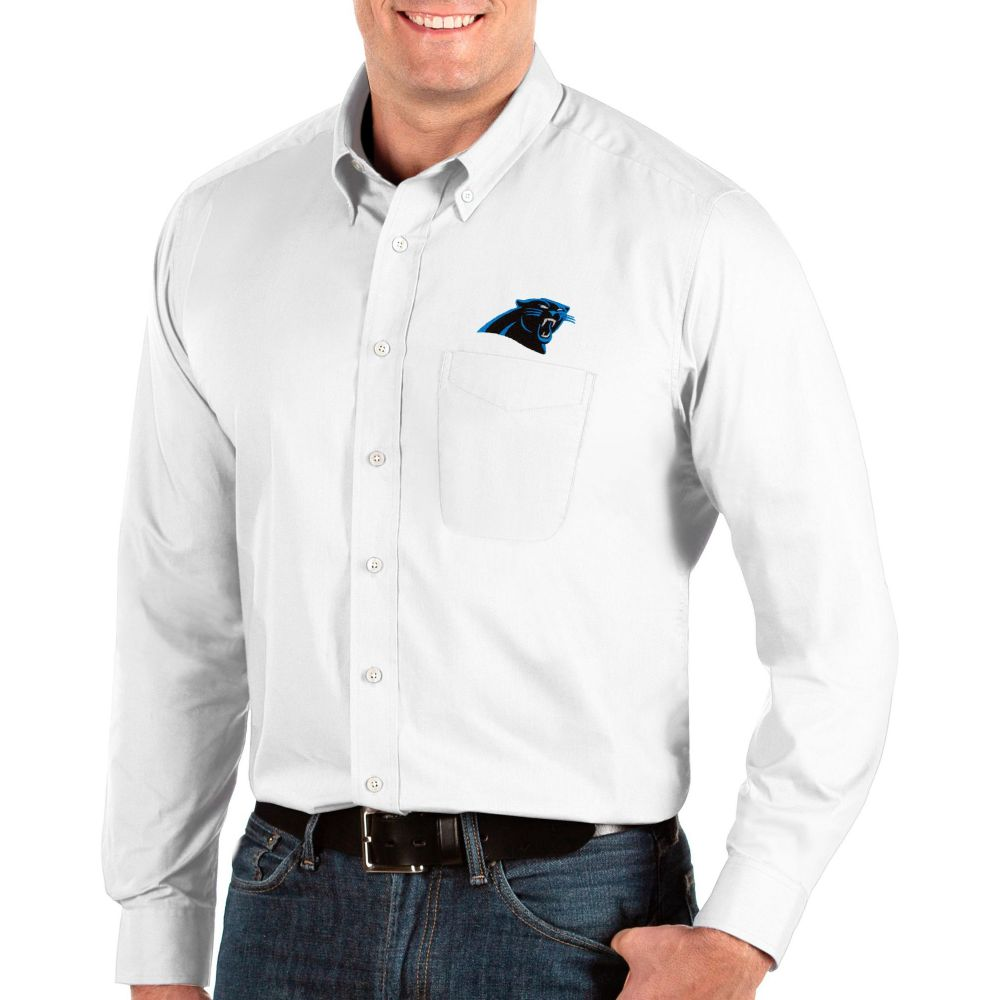 アンティグア Antigua メンズ シャツ トップス【Carolina Panthers Dynasty Button Down White Dress Shirt】